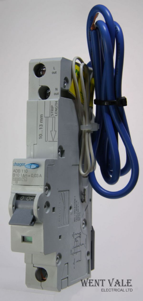 Hager ADB110 - 10a 30mA Type B Single Pole RCBO Used